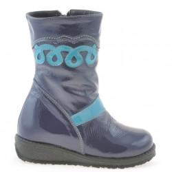 Small children knee boots 23c patent indigo+bleu