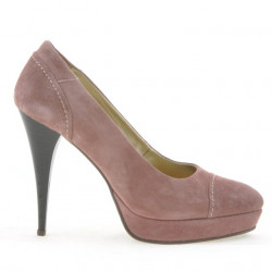 Pantofi eleganti dama 1082 rosa antilopa