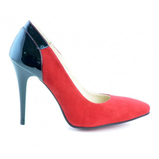Pantofi eleganti dama 1230 rosu antilopa combinat