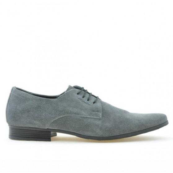 Men stylish, elegant shoes 786 gray velour
