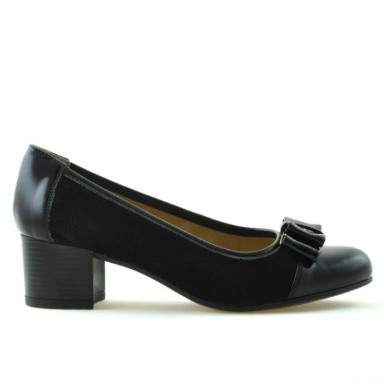 Pantofi casual / eleganti dama 636 lac negru combinat
