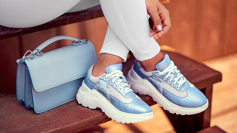 pantofi sport indigo alb argintiu