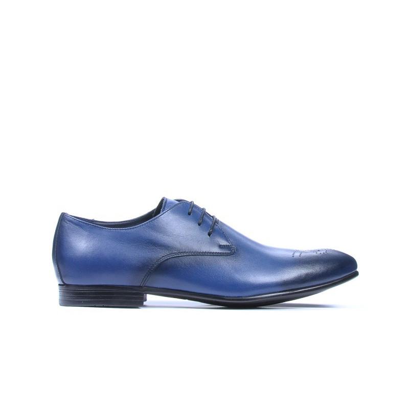 Pantofi eleganti barbati 828 a indigo. Pret accesibil. Piele naturala.
