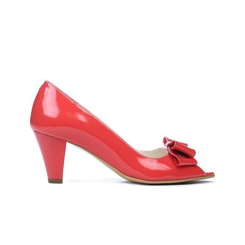 Sandale dama 1255 lac rosu corai. Pret accesibil. Piele naturala.