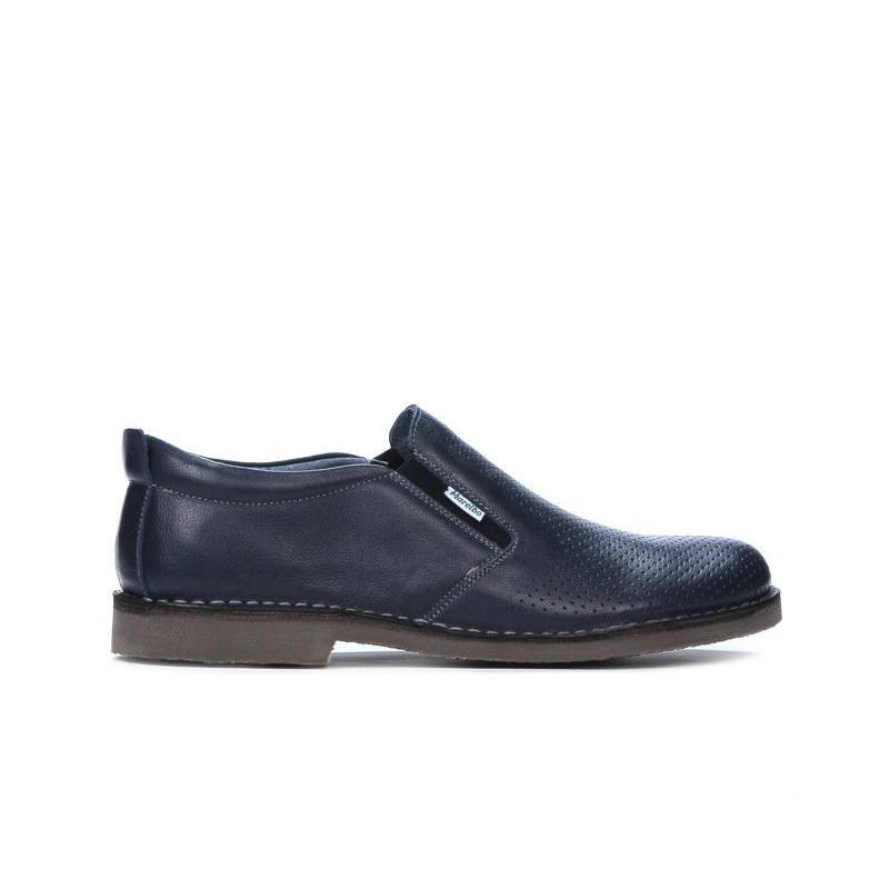Pantofi casual barbati 7200p indigo perforat. Pret accesibil. Piele naturala.