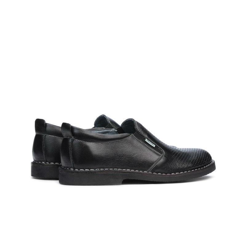 Pantofi casual barbati 7200p negru perforat. Pret accesibil. Piele naturala.