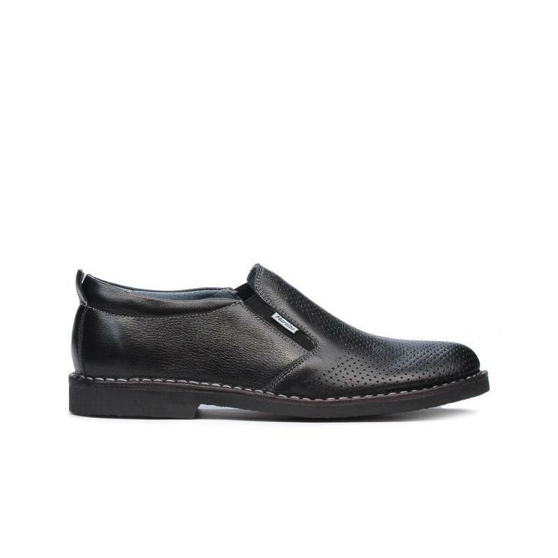 Pantofi casual barbati (marimi mari) 7200mp negru perforat. Pret accesibil. Piele naturala.