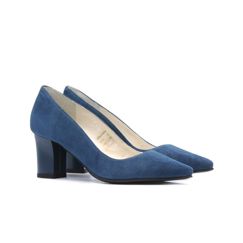 Pantofi eleganti dama 1253 turcoaz antilopa. Pret accesibil. Piele naturala.