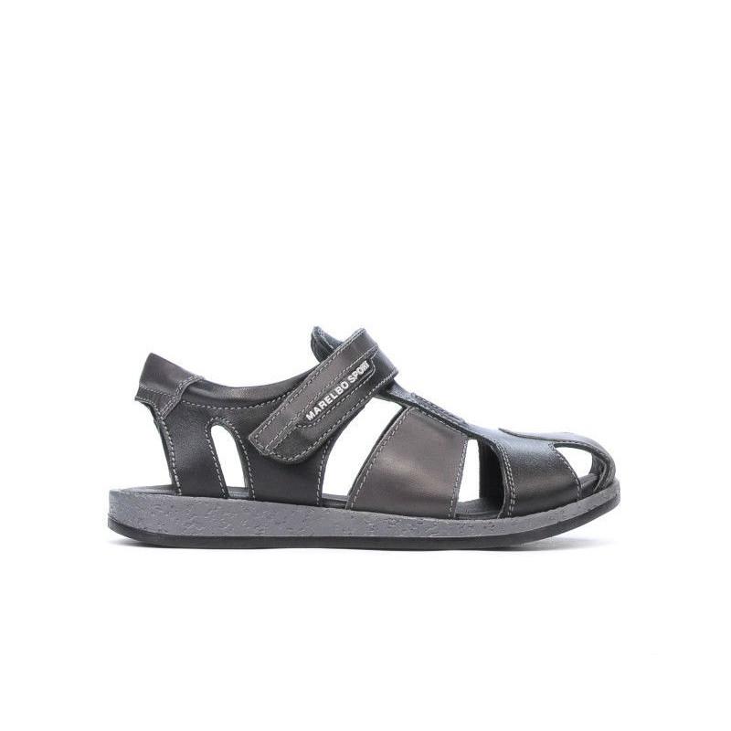 Sandale copii 324 negru+gri. Pret accesibil. Piele naturala.