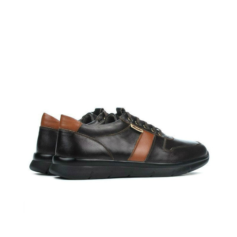 Pantofi sport barbati 885 cafe+maro. Pret accesibil. Piele naturala.