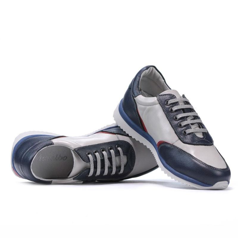 Pantofi sport adolescenti 374 indigo combinat. Pret accesibil. Piele naturala.