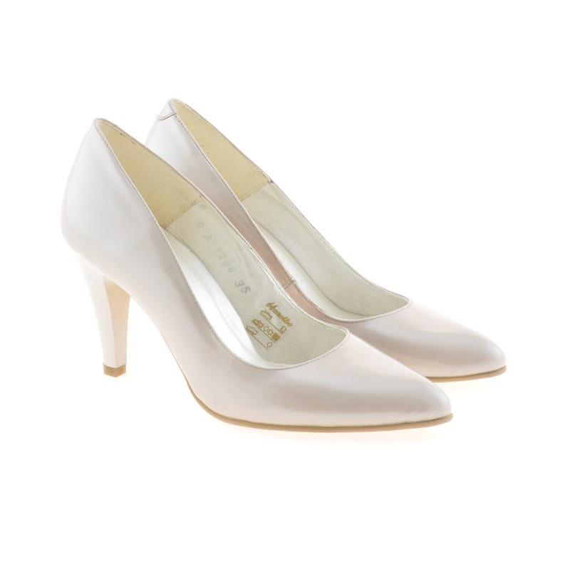 Pantofi eleganti dama 1234 lac bej sidef. Pret accesibil. Piele naturala.